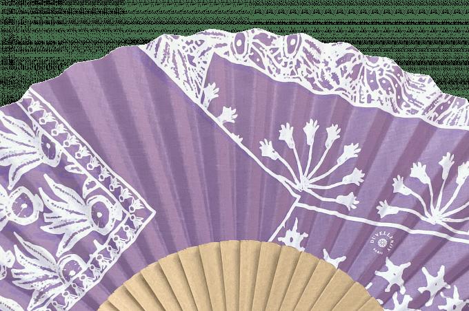 Eventail Bandana lilas bois brut détail