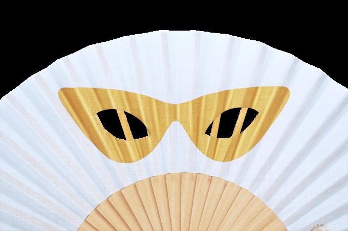 Eventail-Masque-Céleste-Or-détail