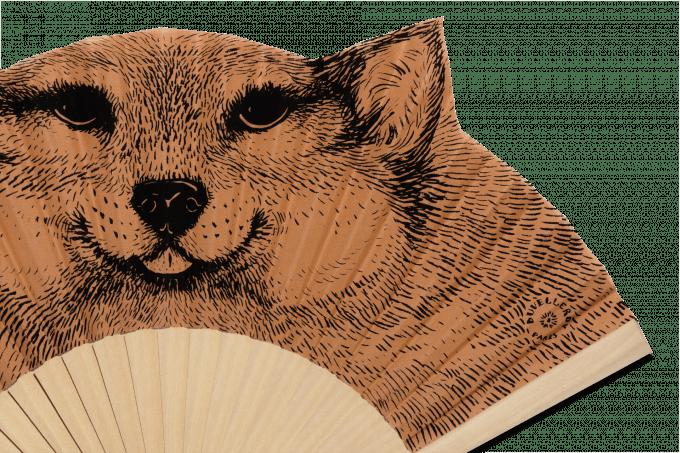 Éventail Dédé le chien Bois naturel Détail