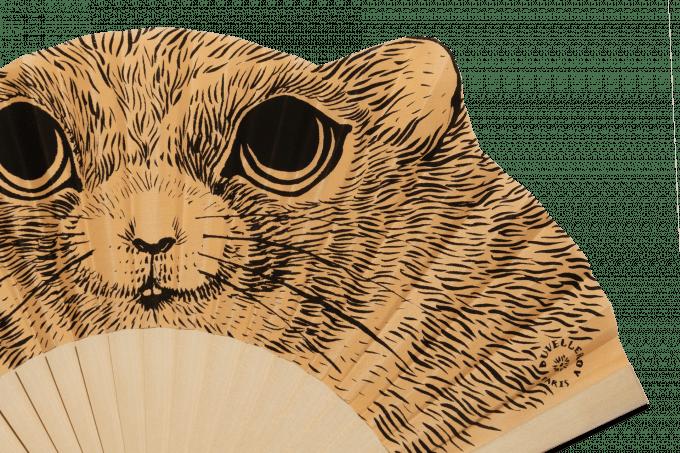 Éventail Fifi le hamster Bois Naturel Détail