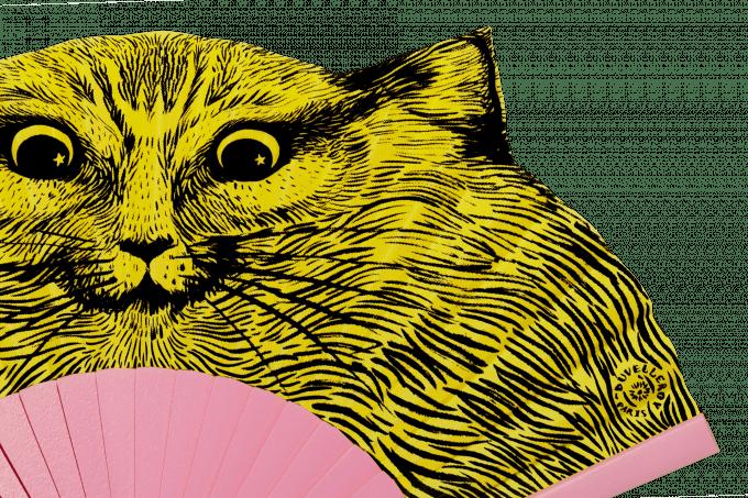 Éventail Léon le chat Détail