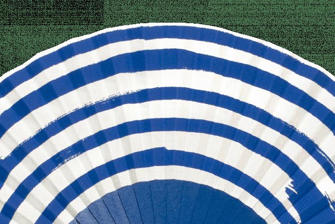 Eventail Marinière Azur et blanc détail